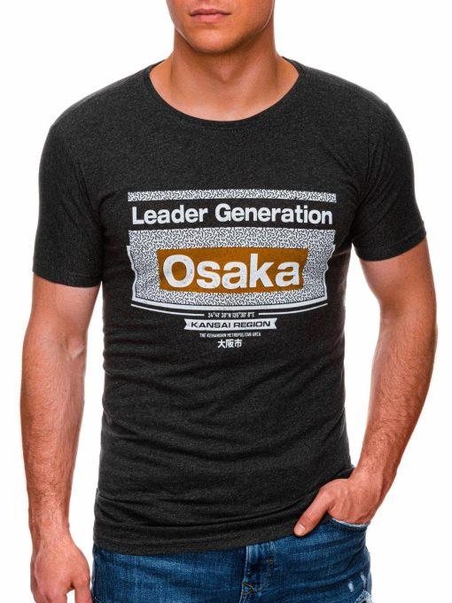 Tamsiai pilki melanžiniai vyriški marškinėliai su užrašu internetu pigiau S1424 17917-1