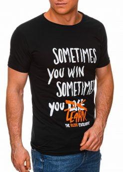 Juodi vyriški marškinėliai su užrašu pigiau internetu S1425 17918-1
