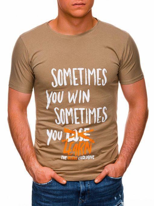 Tamsiai rusvi vyriški marškinėliai su užrašu pigiau internetu S1425 17919-3
