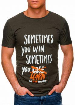 Tamsiai žali vyriški marškinėliai su užrašu pigiau internetu S1425 17945-1