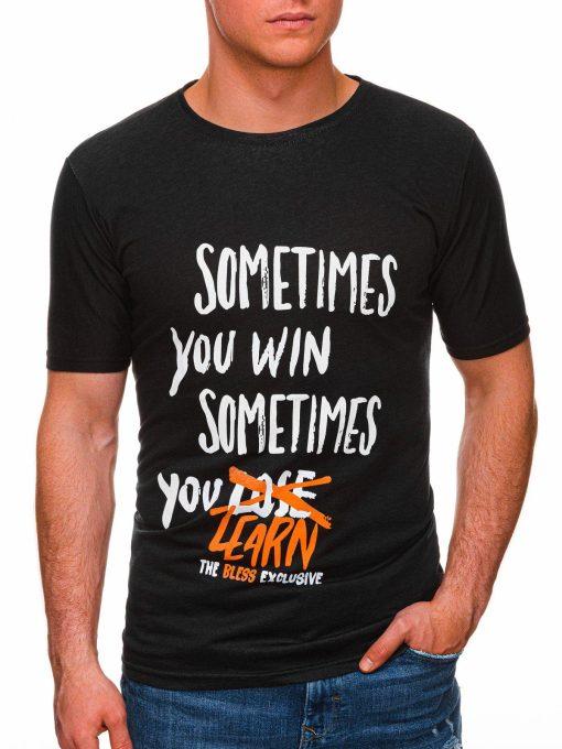 Juodi melanžiniai vyriški marškinėliai su užrašu pigiau internetu S1425 17947-1