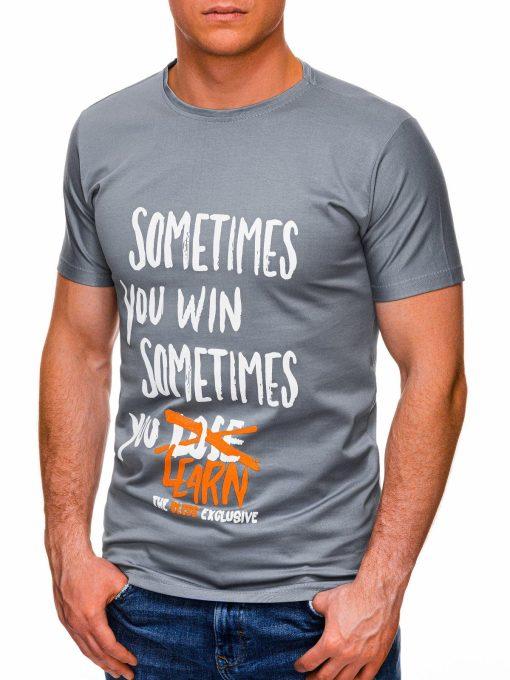 Pilki vyriški marškinėliai su užrašu pigiau internetu S1425 17948-3