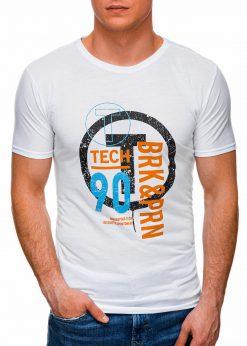 Balti vyriški marškinėliai su užrašu internetu pigiau S1426 17987-1
