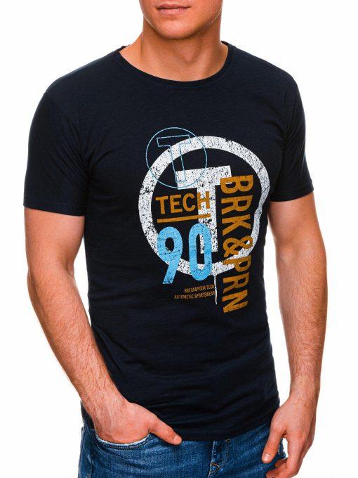 Tamsiai mėlyni vyriški marškinėliai su užrašu internetu pigiau S1426 17988-3