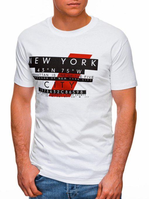 Balti vyriški marškinėliai su užrašu pigiau internetu S1432 18032-3