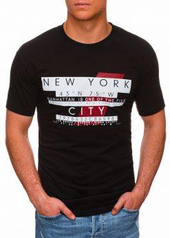 Juodi vyriški marškinėliai su užrašu pigiau internetu S1432 18033-1