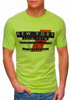 Žali vyriški marškinėliai su užrašu pigiau internetu S1432 18034-1
