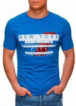 Mėlyni vyriški marškinėliai su užrašu pigiau internetu S1432 18035-1