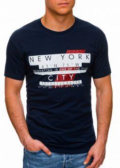 Tamsiai mėlyni vyriški marškinėliai su užrašu pigiau internetu S1432 18036-1