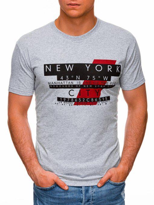 Pilki vyriški marškinėliai su užrašu pigiau internetu S1432 18037-1