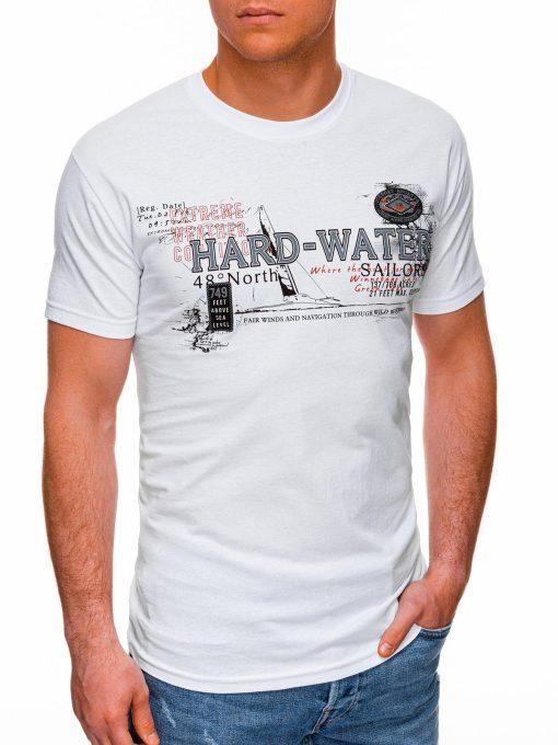Balti vyriški marškinėliai su užrašu pigiau internetu S1431 18038-2