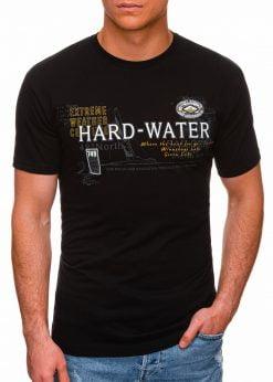 Juodi vyriški marškinėliai su užrašu pigiau internetu S1431 18039-1