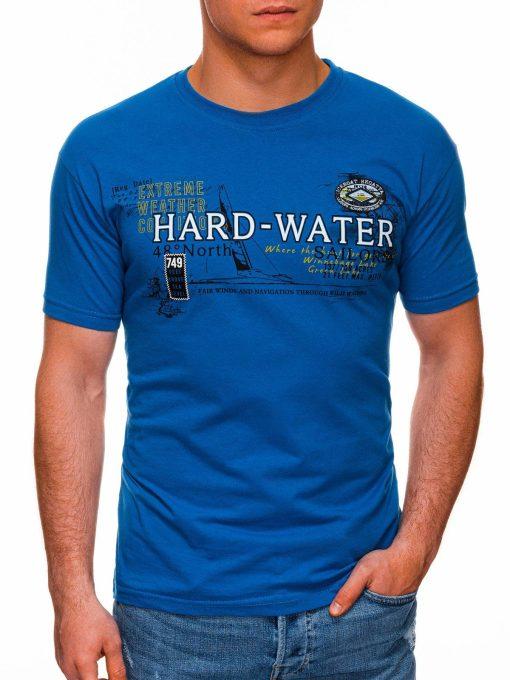 Mėlyni vyriški marškinėliai su užrašu pigiau internetu S1431 18040-1