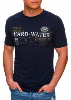 Tamsiai mėlyni vyriški marškinėliai su užrašu pigiau internetu S1431 18041-3