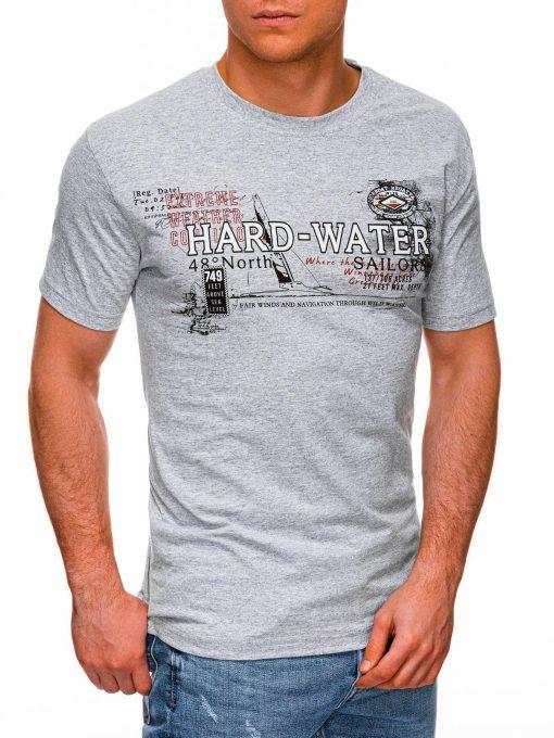 Pilki vyriški marškinėliai su užrašu pigiau internetu S1431 18043-3