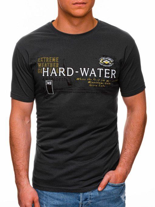 Tamsiai pilki vyriški marškinėliai su užrašu pigiau internetu S1431 18045-1