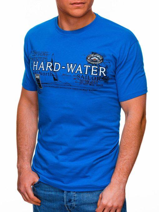 Šviesiai mėlyni vyriški marškinėliai su užrašu pigiau internetu S1431 18046-3