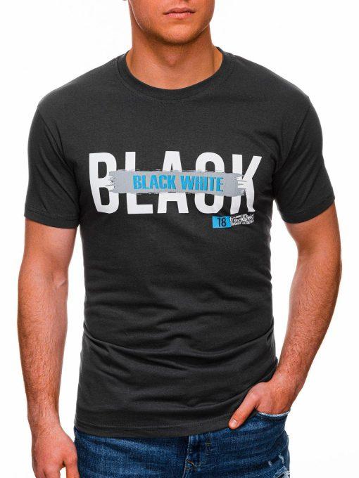 Tamsiai pilki vyriški marškinėliai su užrašu pigiau internetu S1430 18057-1