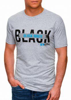 Pilki vyriški marškinėliai su užrašu pigiau internetu S1430 18058-1