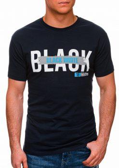 Tamsiai mėlyni vyriški marškinėliai su užrašu pigiau internetu S1430 18060-1