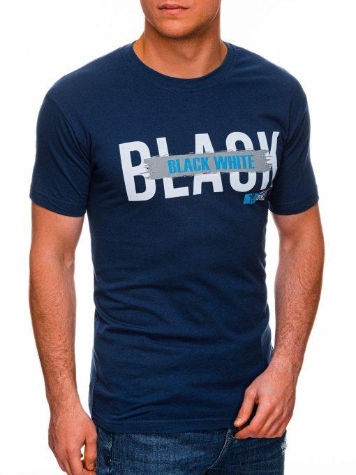 Mėlyni vyriški marškinėliai su užrašu pigiau internetu S1430 18061-1