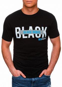 Juodi vyriški marškinėliai su užrašu pigiau internetu S1430 18062-1