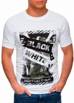 Balti vyriški marškinėliai su užrašu pigiau internetu S1427 18064-4
