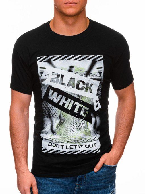 Juodi vyriški marškinėliai su užrašu pigiau internetu S1427 18065-1
