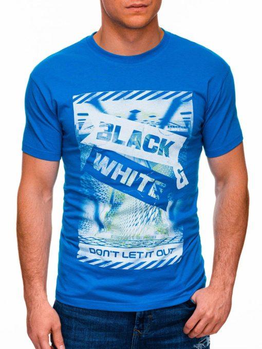 Mėlyni vyriški marškinėliai su užrašu pigiau internetu S1427 18066-1