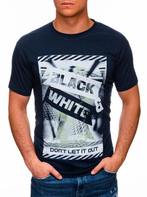 Tamsiai mėlyni vyriški marškinėliai su užrašu pigiau internetu S1427 18069-1