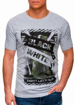 Pilki vyriški marškinėliai su užrašu pigiau internetu S1427 18070-1