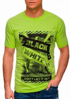 Žali vyriški marškinėliai su užrašu pigiau internetu S1427 18072-1