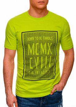 Žali vyriški marškinėliai su užrašu internetu pigiau S1428 18073-1