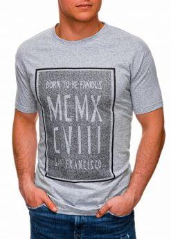 Pilki vyriški marškinėliai su užrašu internetu pigiau S1428 18075-3