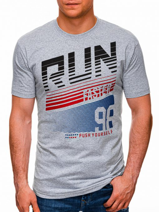 Šviesiai pilki vyriški marškinėliai su užrašu internetu pigiau S1429 18081-1