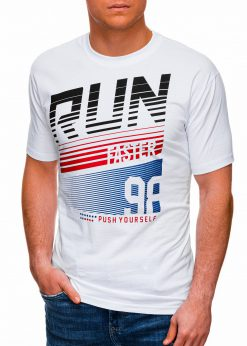 Balti vyriški marškinėliai su užrašu internetu pigiau S1429 18086-1