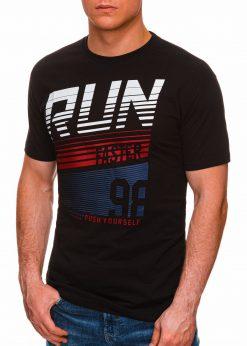 Juodi vyriški marškinėliai su užrašu internetu pigiau S1429 18087-1