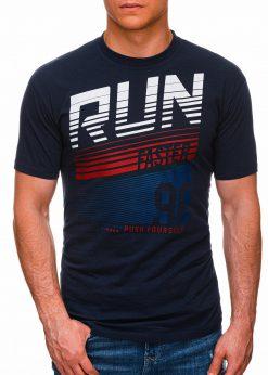 Tamsiai mėlyni vyriški marškinėliai su užrašu internetu pigiau S1429 18088-1
