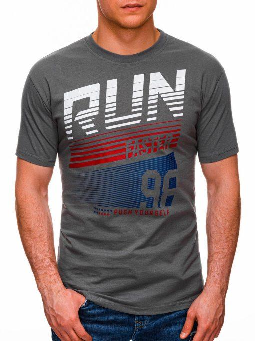 Pilki vyriški marškinėliai su užrašu internetu pigiau S1429 18089-1