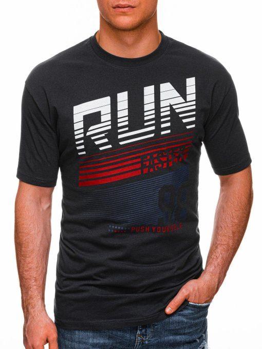 Tamsiai pilki vyriški marškinėliai su užrašu internetu pigiau S1429 18090-1