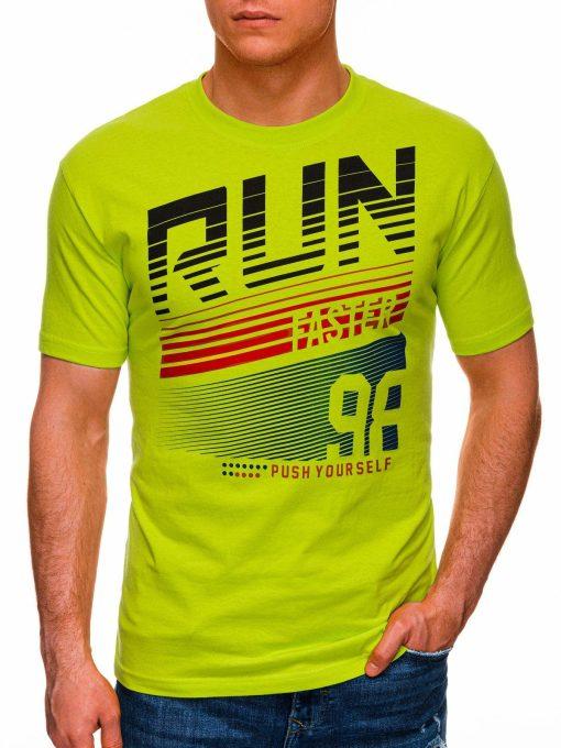Žali vyriški marškinėliai su užrašu internetu pigiau S1429 18091-1