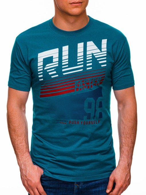 Mėlyni vyriški marškinėliai su užrašu internetu pigiau S1429 18092-1