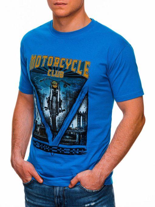 Mėlyni vyriški marškinėliai su užrašu internetu pigiau S1433 18129-3