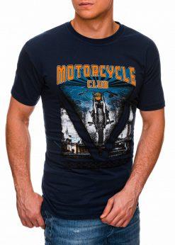 Tamsiai mėlyni vyriški marškinėliai su užrašu internetu pigiau S1433 18139-3