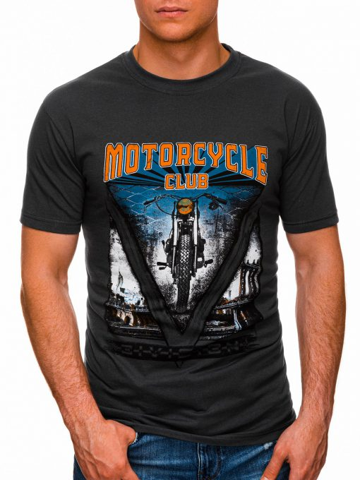 Tamsiai pilki vyriški marškinėliai su užrašu internetu pigiau S1433 18144-1