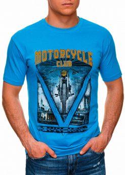 Šviesiai mėlyni vyriški marškinėliai su užrašu internetu pigiau S1433 18145-1