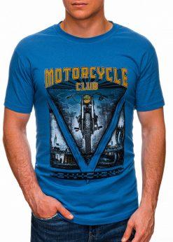 Sodriai mėlyni vyriški marškinėliai su užrašu internetu pigiau S1433 18146-1