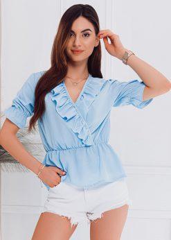 Šviesiai mėlyna moteriška palaidinė internetu pigiau LLR005 18203-1