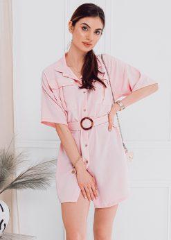 Rožinė moteriška suknelė internetu pigiau DLR006 18236-1
