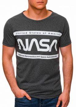 Tamsiai pilki vyriški marškinėliai su užrašu nasa internetu pigiau S1437 18711-2